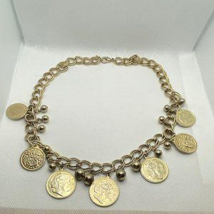 Jewelry - Vintage Gold Tone Faux Coin Greek Necklace